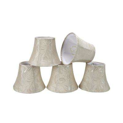 5 in. x 4 in. Off White and Leaf Bell Lamp Shade (5-Pack)