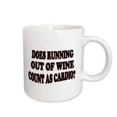 Rinapiro Alcohol Quotes Does Running Out of Wine Count As Cardio 11 oz. White Ceramic Coffee Mug