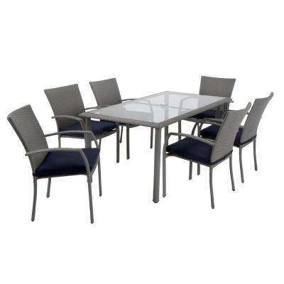 Lakewood Ranch 7-Piece Steel Woven Wicker Patio Dining Set