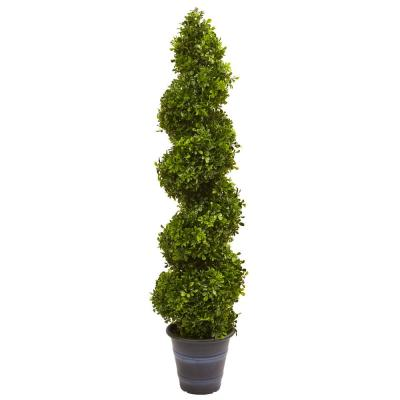Indoor and Outdoor 48 in. Boxwood Spiral Topiary with Planter
