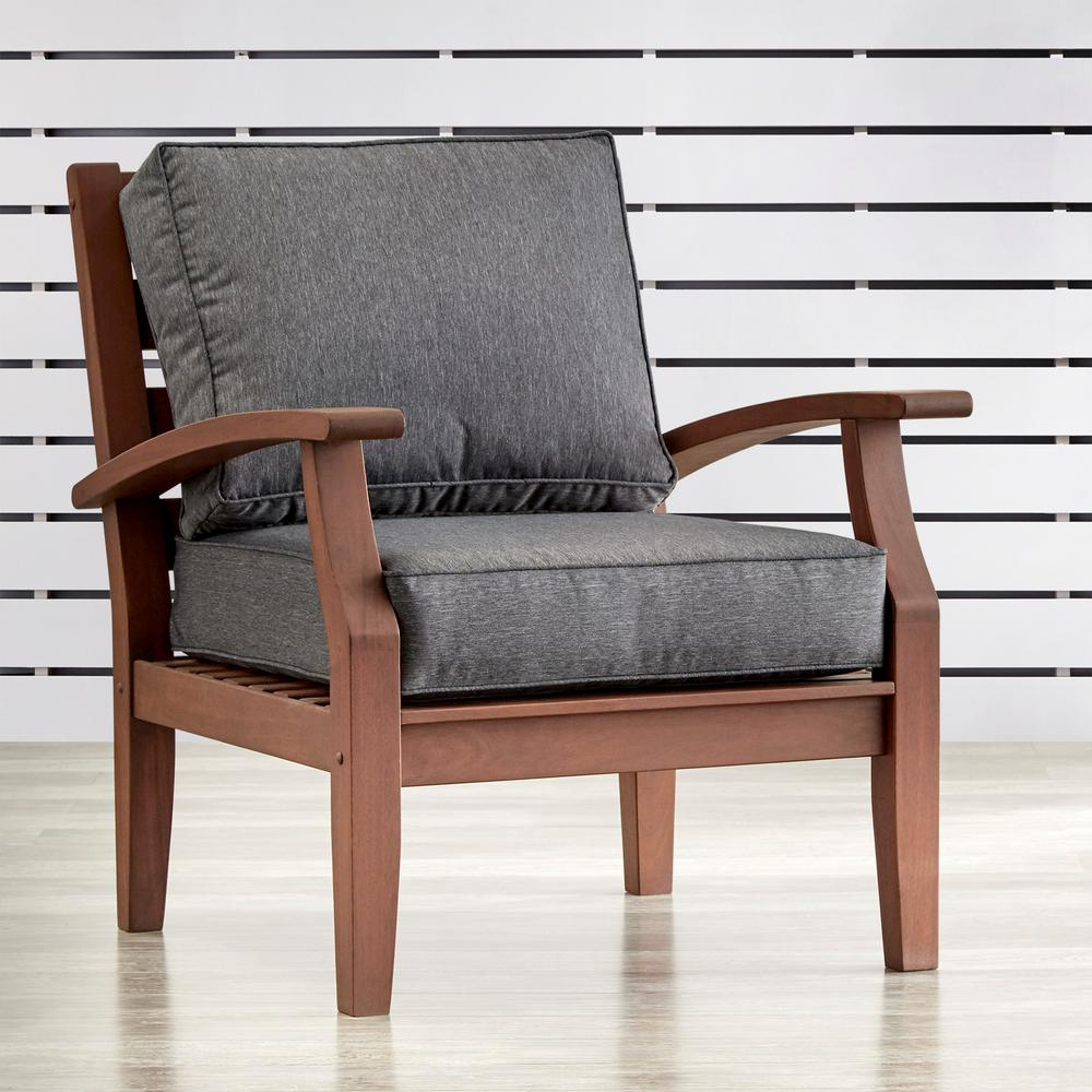 Homesullivan verdon gorge brown oiled wood outdoor occasional lounge chair with gray cushion