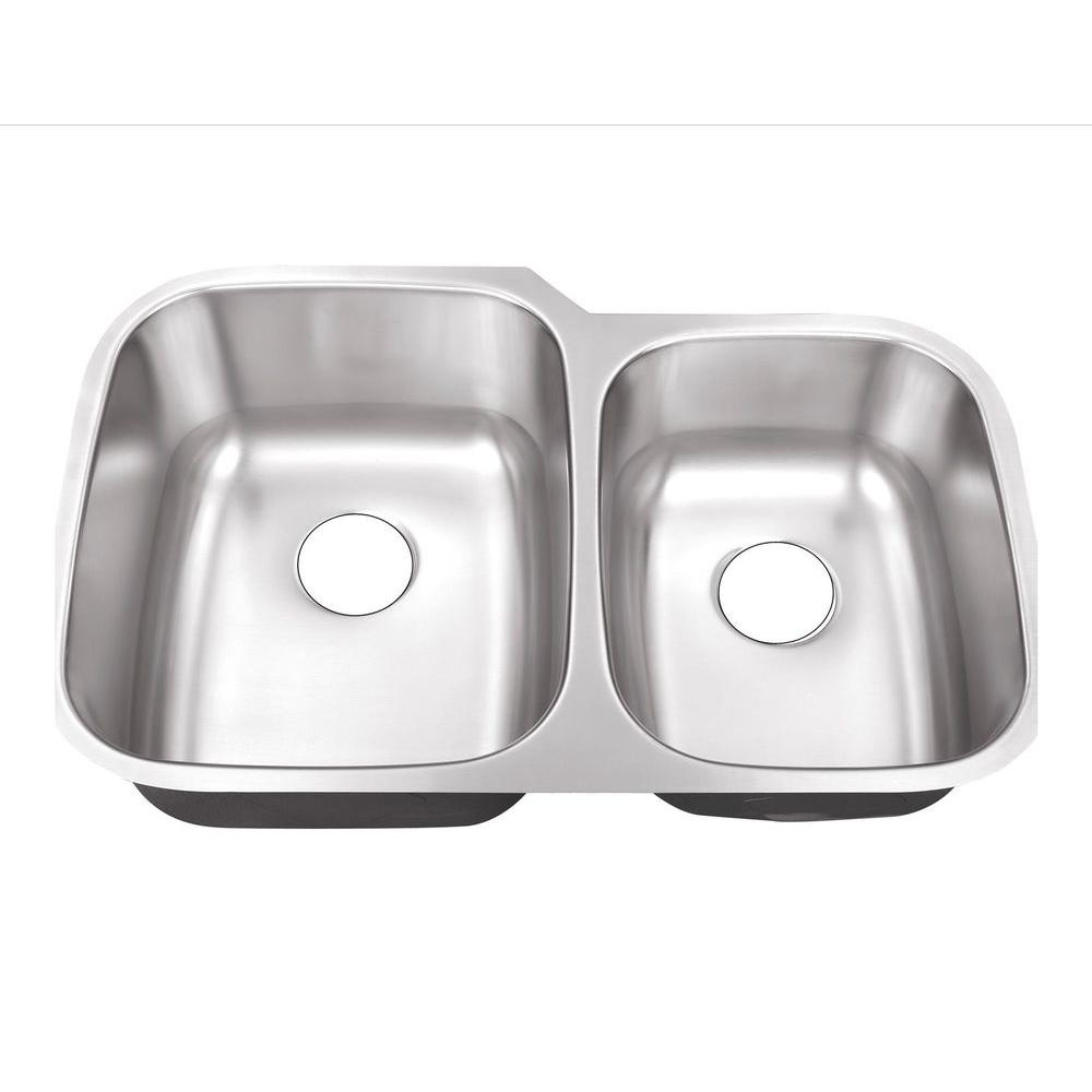 Elegant Belle Foret Undermount Stainless Steel 32 In. 0 Hole 60/40 Double Bowl  Kitchen Sink BFM108   The Home Depot