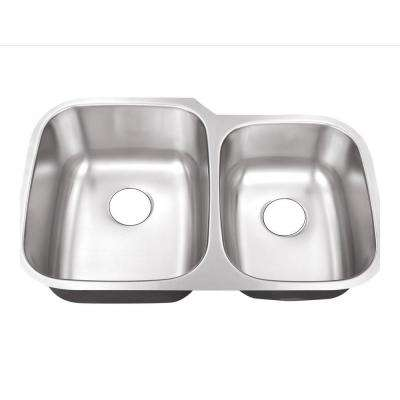 Undermount Stainless Steel 32 in. 0-Hole 60/40 Double Bowl Kitchen Sink