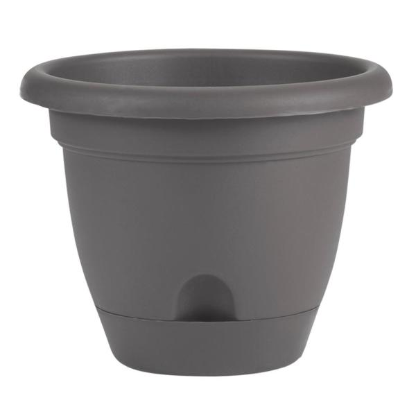 Lucca 10 in. x 8.75 in. Charcoal Plastic Self Watering Planter with Saucer