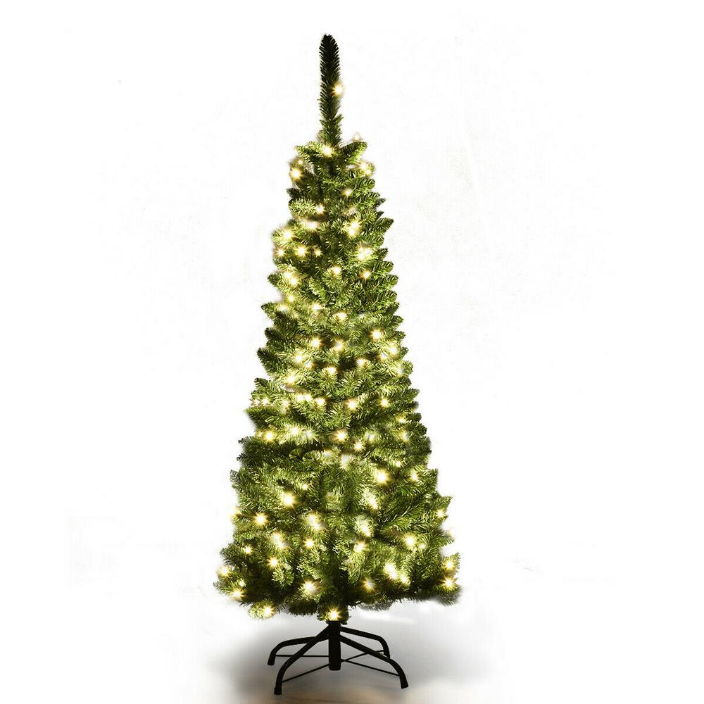 White 4 Foot Christmas Tree: Costway 4.5 Ft. Pre-Lit Hinged Artificial Pencil Christmas