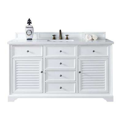 Savannah 60 in. W Single Vanity in Cottage White with Quartz Vanity Top in White with White Basin