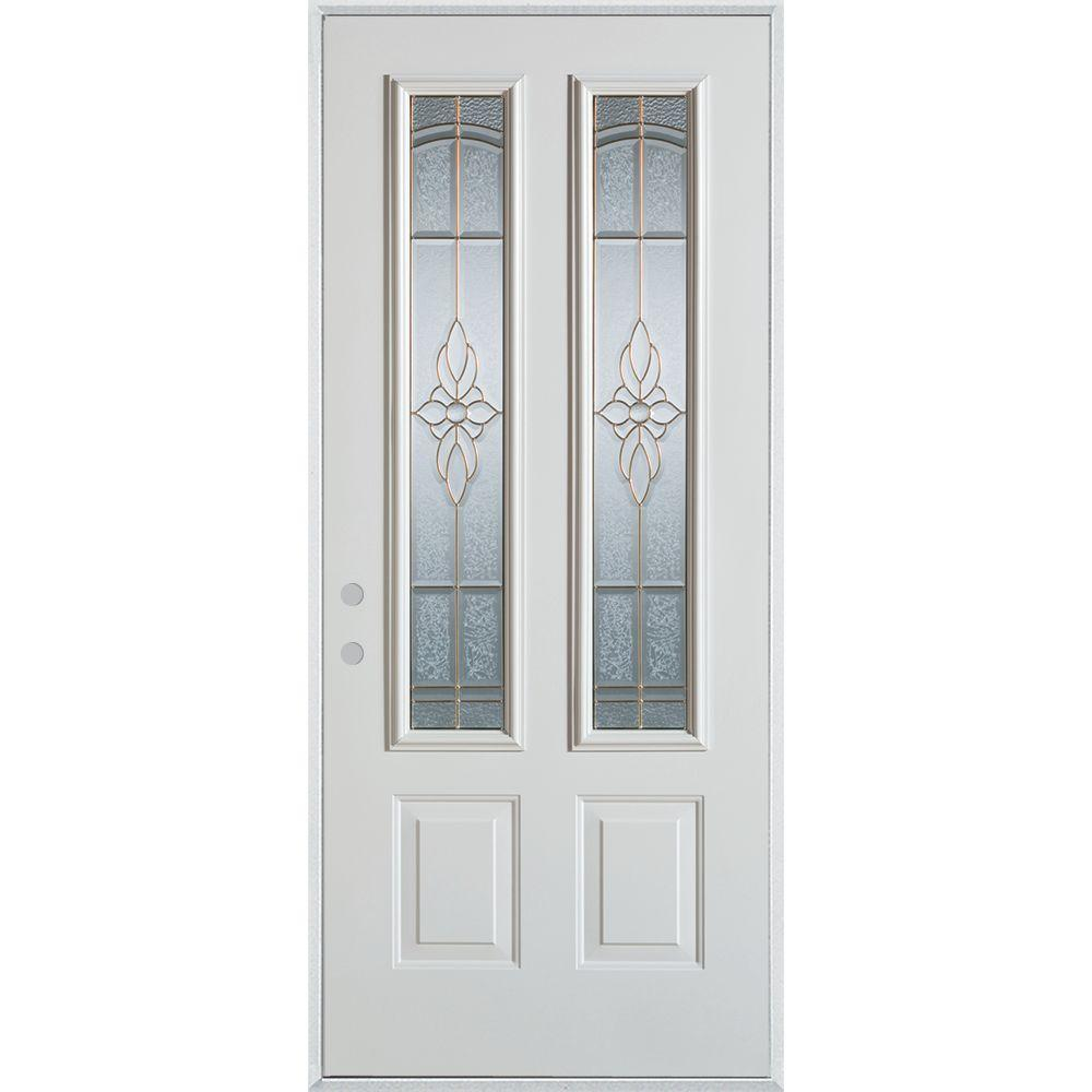 37.375 in. x 82.375 in. Traditional Brass 2 Lite 2-Panel Prefinished