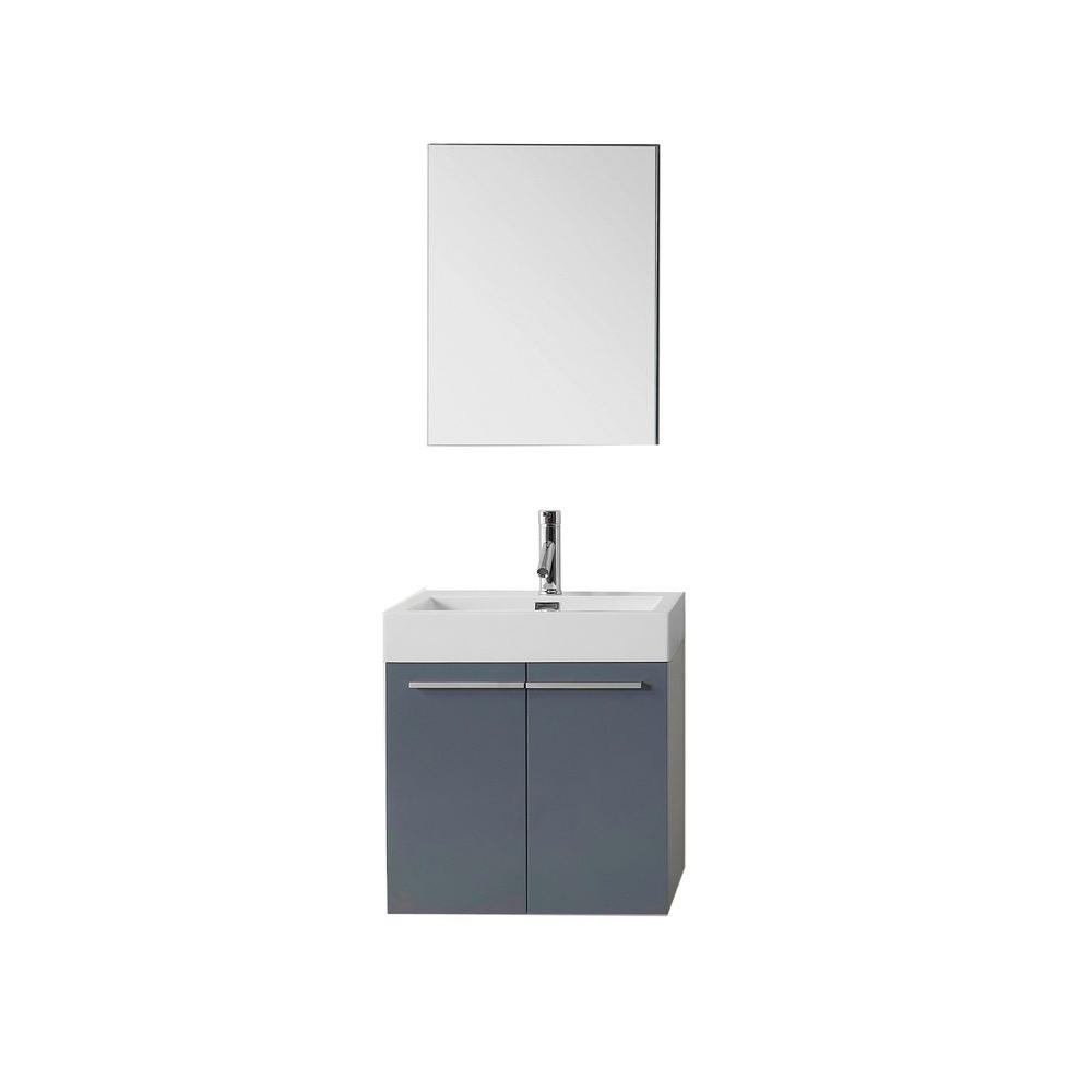 Midori 24 in. W Vanity in Grey with Poly-Marble Vanity Top