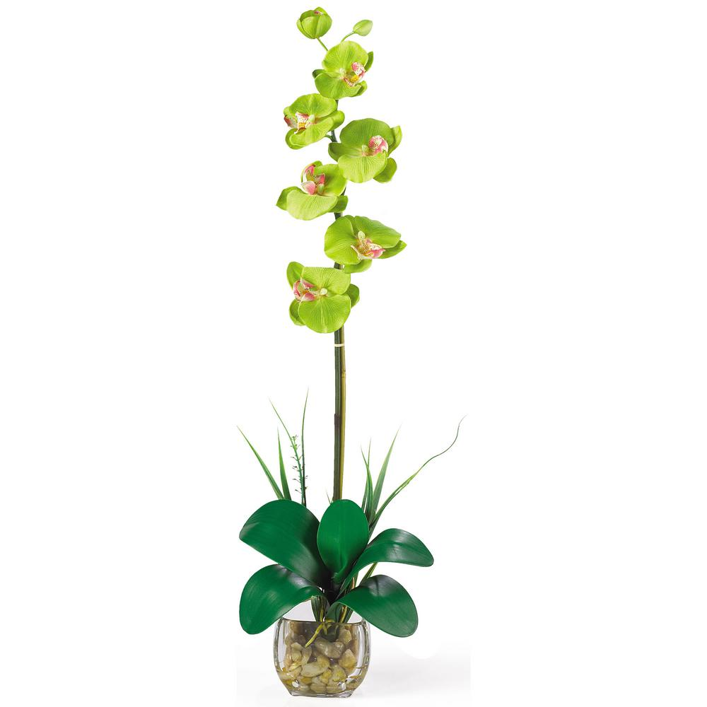 27 in. Single Phalaenopsis Liquid Illusion Silk Flower Arrangement in Green