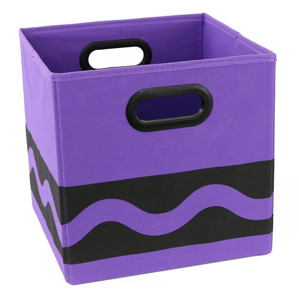 Crayola 10.5 in. x 10.5 in. Black Serpentine Purple Storage Bin
