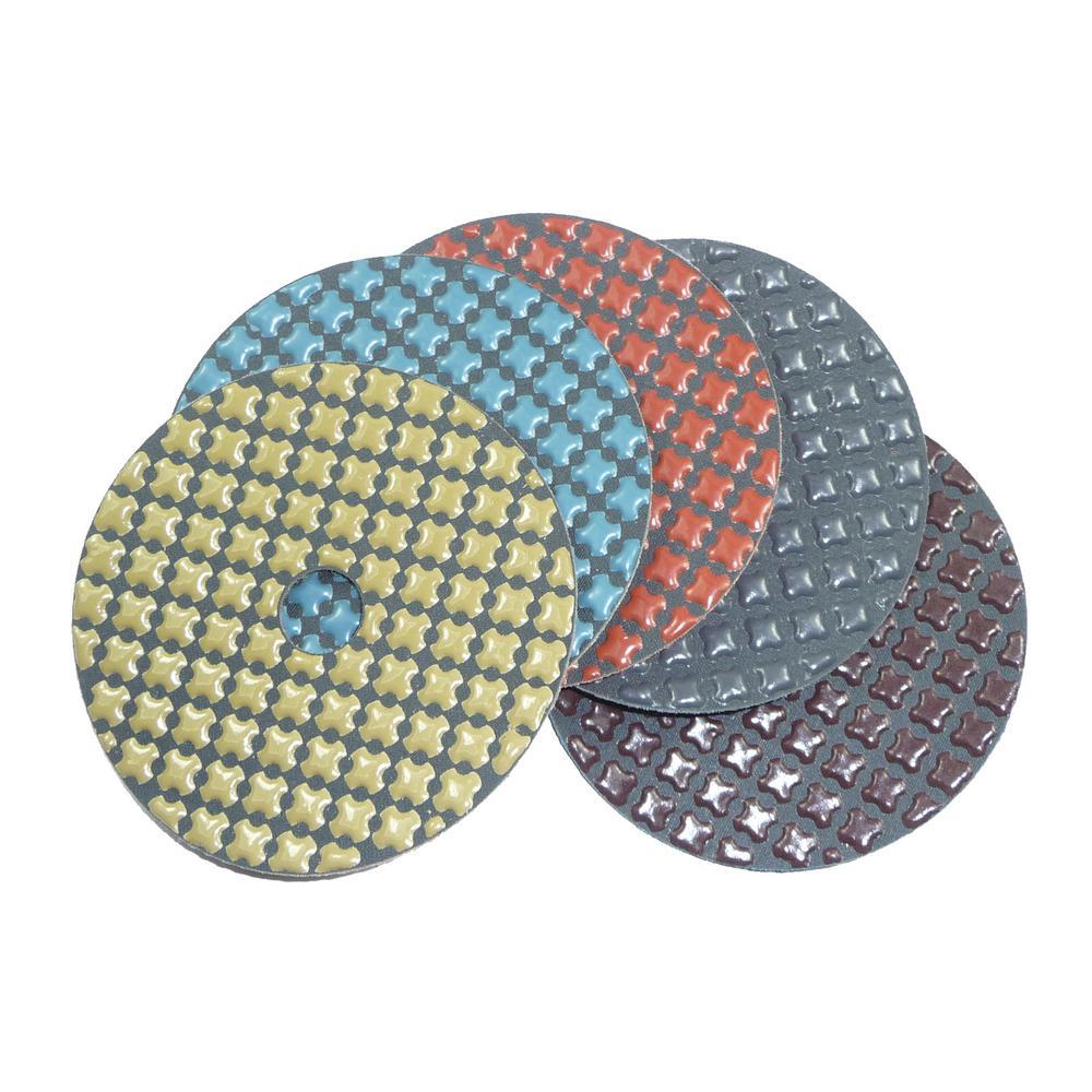 4 in. 5-Step Dry Diamond Polishing Pads Set of 5 (1 Each Step)