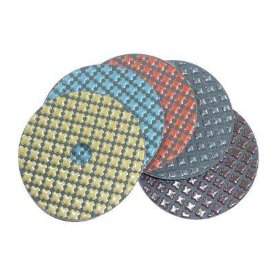 4 in. 5-Step Dry Diamond Polishing Pads Set of 5 (1 Each Step)