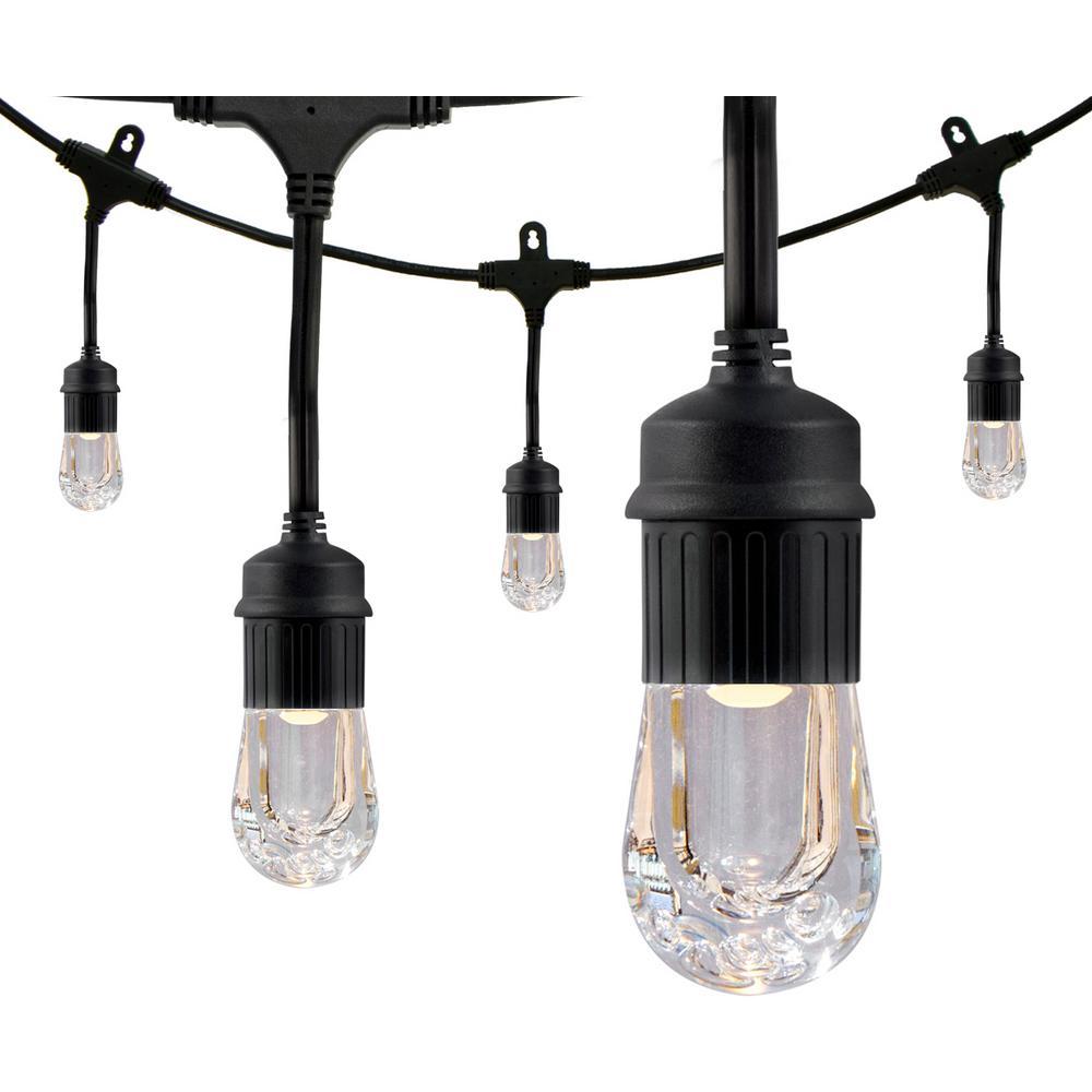 12-Bulb 24 ft. Integrated LED Cafe Sting Lights, Black