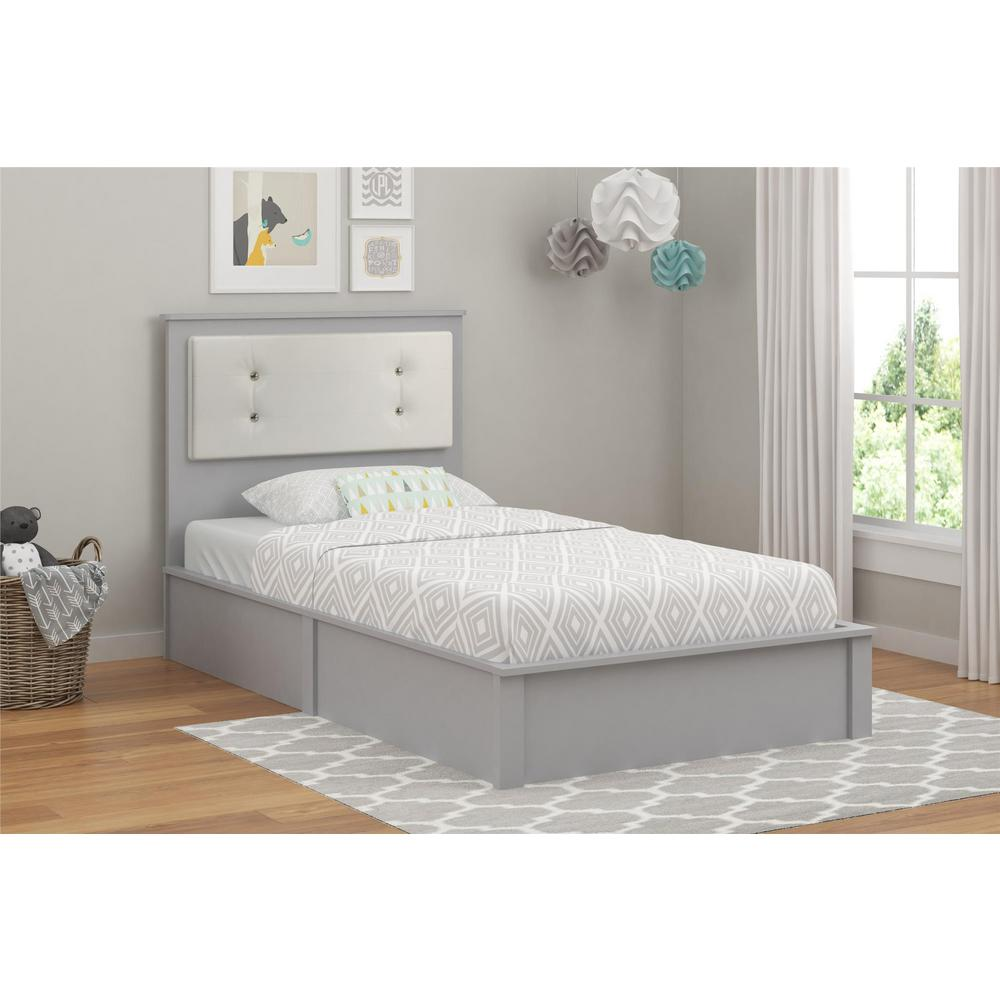 Cosco Lake Light Slate Gray Twin Platform Bed Willow