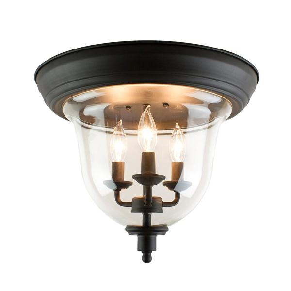 Home Decorators Collection 3 Light Bronze Flush Mount Ceiling Light With Clear Glass Dc C3710 Bz The Home Depot