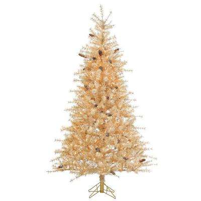7 ft. Pre-Lit Buttercream Frosted Hard Needle Artificial Christmas Tree with Clear Lights