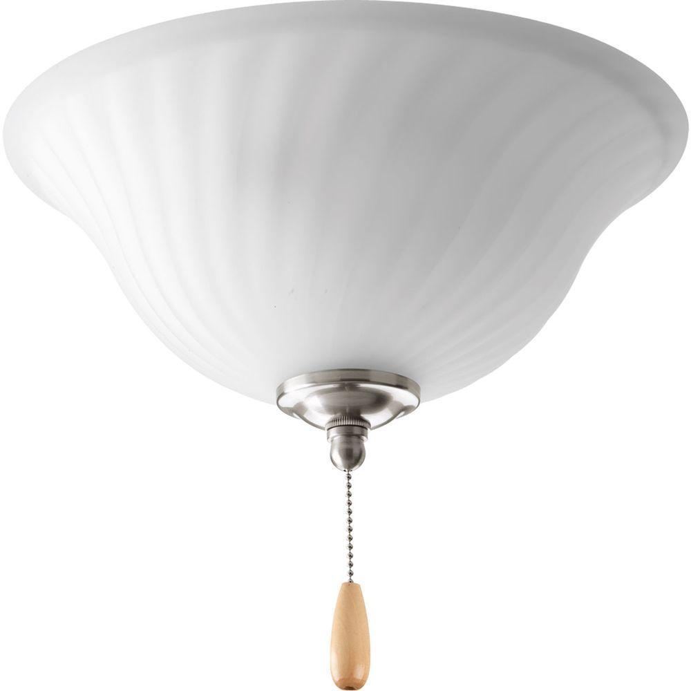 Progress Lighting Kensington Collection 3-Light Brushed Nickel Ceiling Fan Light
