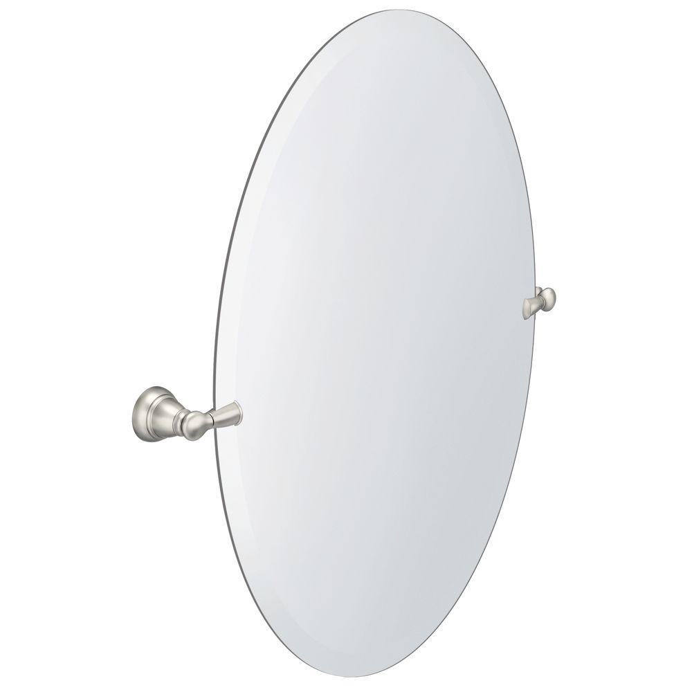 Frameless bathroom mirrors bath the home depot frameless pivoting wall mirror in brushed nickel amipublicfo Choice Image