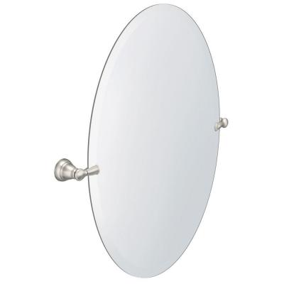 Banbury 26 in. x 23 in. Frameless Pivoting Wall Mirror in Brushed Nickel