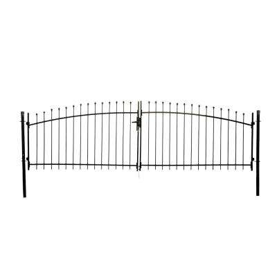 Athens Style 13 ft. x 5 ft. Black Steel DIY Dual Swing Driveway Fence Gate