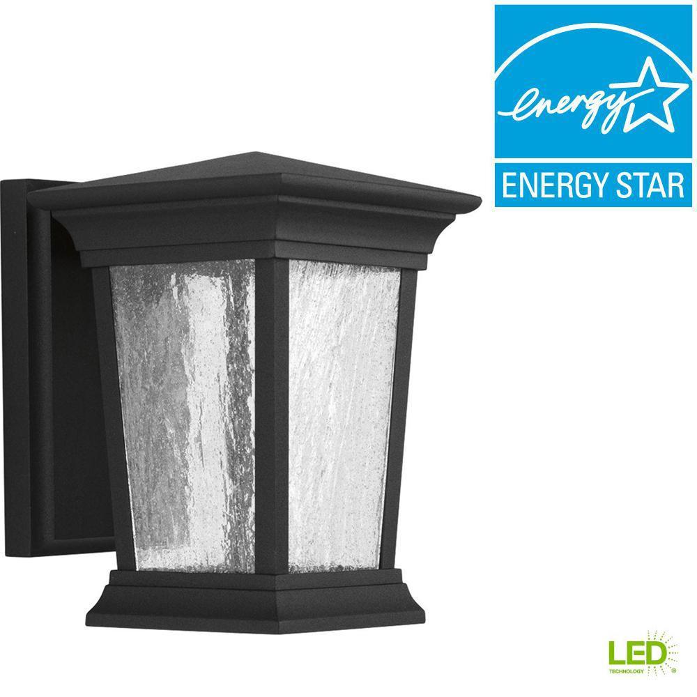 Progress Lighting Arrive Collection 1-Light 8.75 in. Outdoor Black LED Wall Lantern
