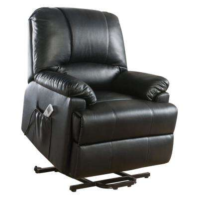 Ixora Black Leatherette Power Lift Massage Recliner