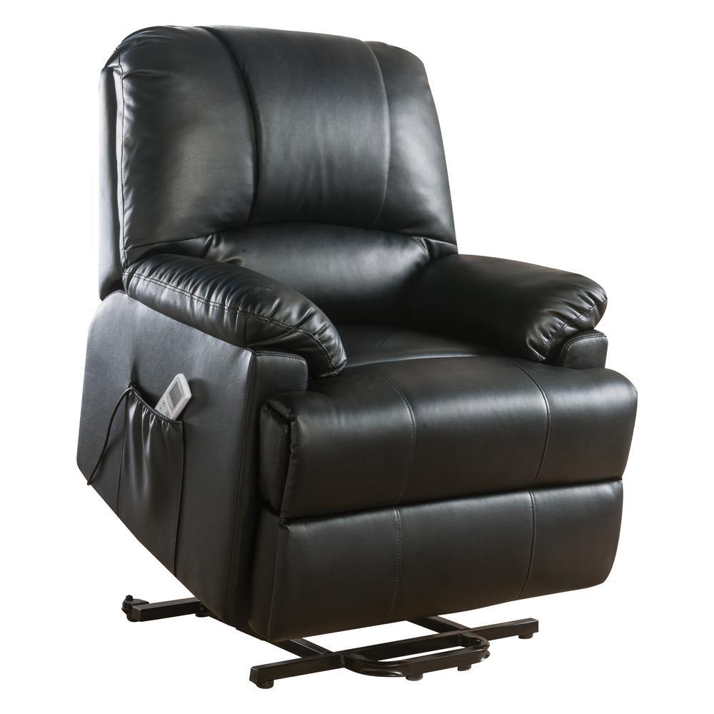 Acme Furniture Ixora Black Leatherette Power Lift Massage Recliner 59285
