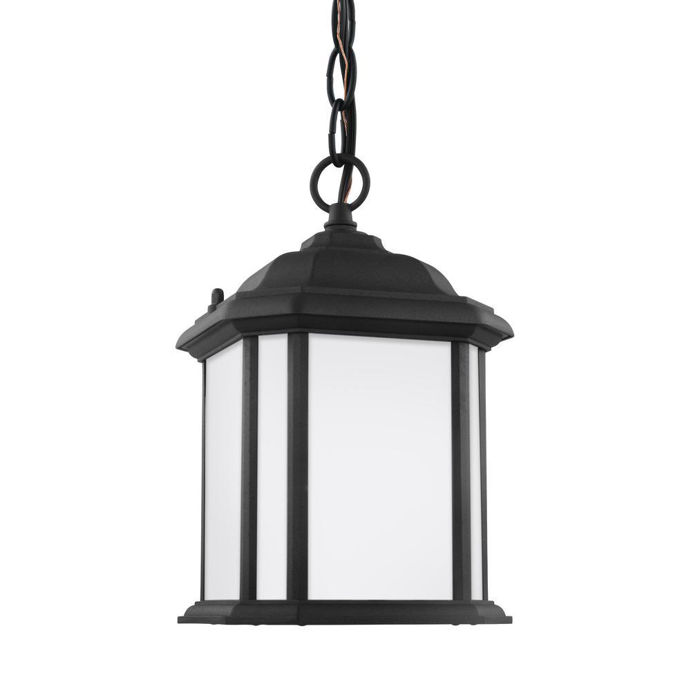 Kent Black 1-Light Outdoor Semi-Flushmount Convertible Pendant with LED Bulb