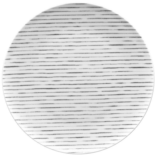 11 in. Grey Hammock Stripes Coupe Dinner Plate