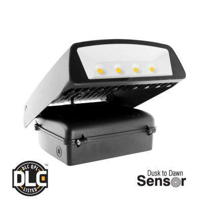 70-Watt Black Outdoor Integrated LED Wall Pack Light with Dusk to Dawn Sensor