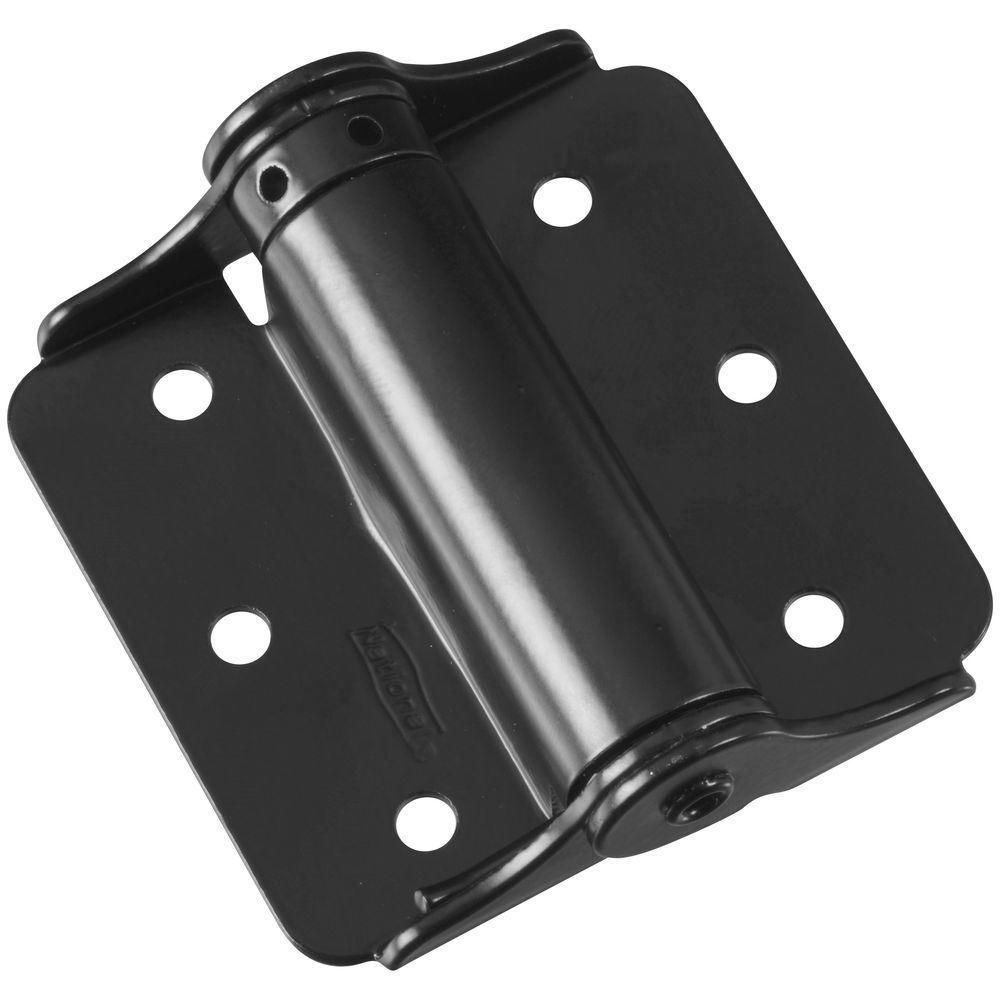 1.5 in. x 3 in. Black Adjustable Spring Hinge