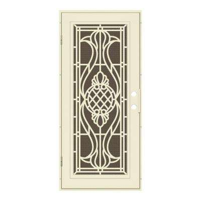 36 in. x 80 in. Manchester Beige Hammer Left-Hand Surface Mount Security Door with Brown Perforated Metal Screen