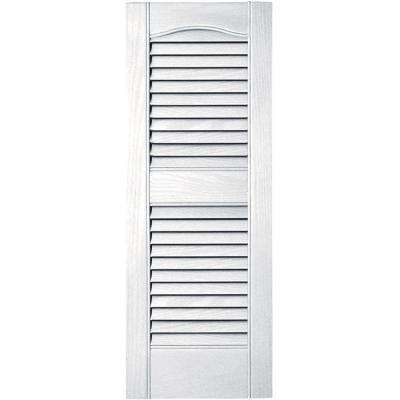 12 in. x 31 in. Louvered Vinyl Exterior Shutters Pair in #001 White