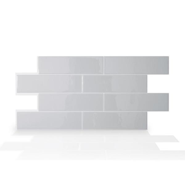 Oslo 22.56 in. W x 10.88 in. H Gray Peel and Stick Self-Adhesive Decorative Mosaic Wall Tile Backsplash (2-Pack)