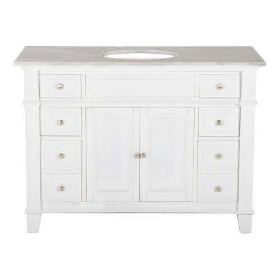 48 in. W x 23 in. D Solid Hardwood Single Vanity in Swiss White with Solid Marble Top in Sierra White