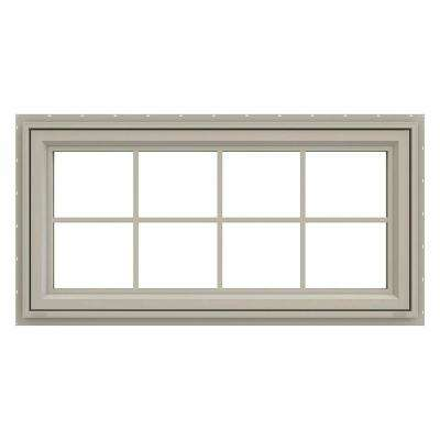 47.5 in. x 23.5 in. V-4500 Series Desert Sand Vinyl Awning Window with Colonial Grids/Grilles