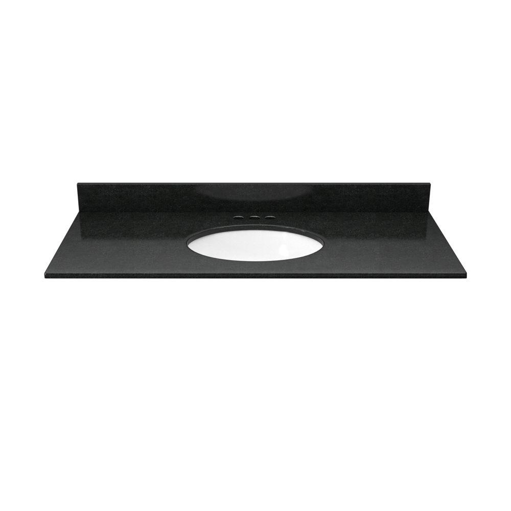 37 in. Granite Vanity Top in Absolute Black with White Basin