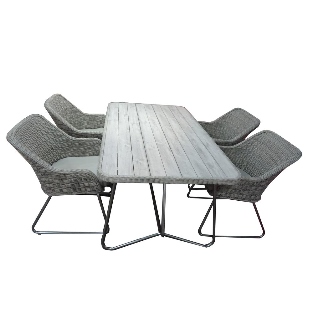 S Dente Siena Grey 5 Piece Faux Wood Patio Dining Set With Cushions