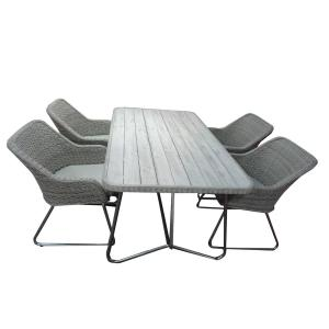 S'DENTE Siena Grey 5-Piece Faux Wood Patio Dining Set with Grey Cushions by S'DENTE