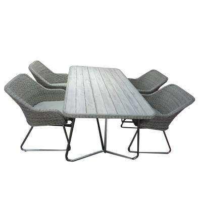 Siena Grey 5 Piece Faux Wood Patio Dining Set With Cushions