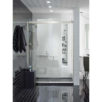Levity 59 in. x 82 in. Frameless Sliding Shower Door in Nickel with Handle