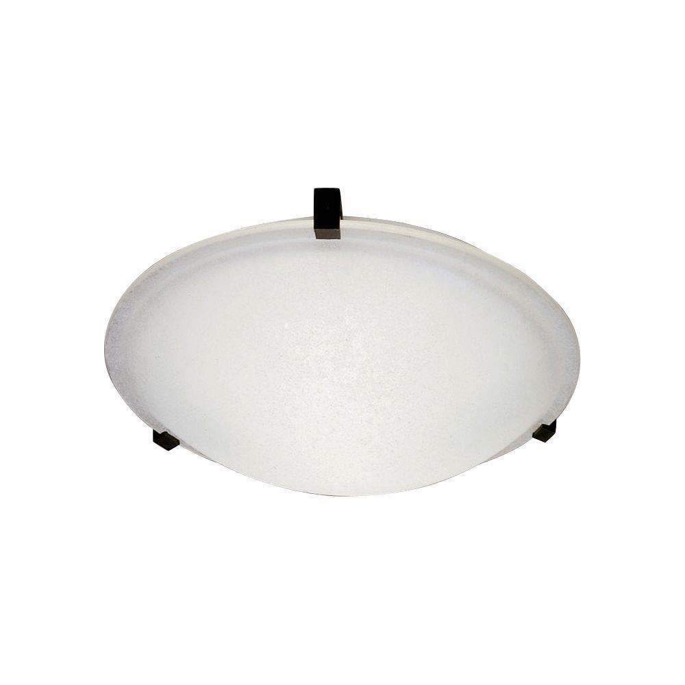PLC Lighting 1-Light Ceiling Light Rust Frost Glass Flush Mount