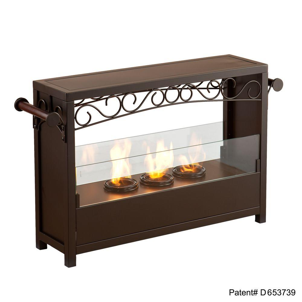 Southern Enterprises Sierra 33 in. Portable Indoor/Outdoor Gel Fuel Fireplace in Matte Brown-DISCONTINUED