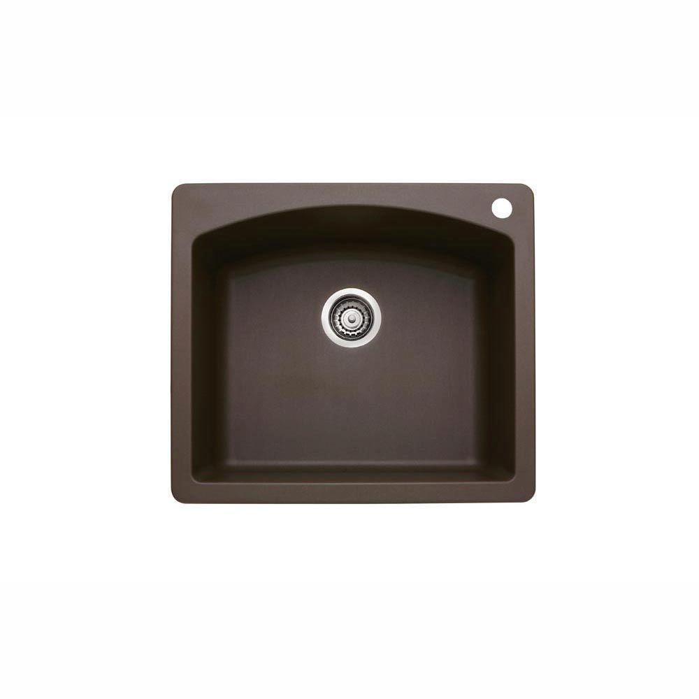 Glacier Bay Dual Mount Granite Composite 25 in. 1-Hole Single Bowl Kitchen Sink in Espresso