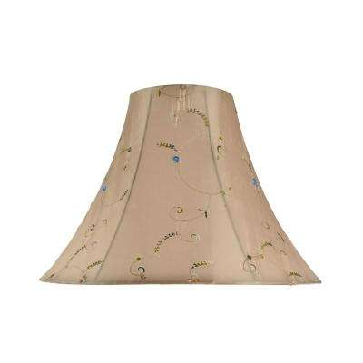 16 in. x 12 in. Gold and Floral Embroidered Design Bell Lamp Shade