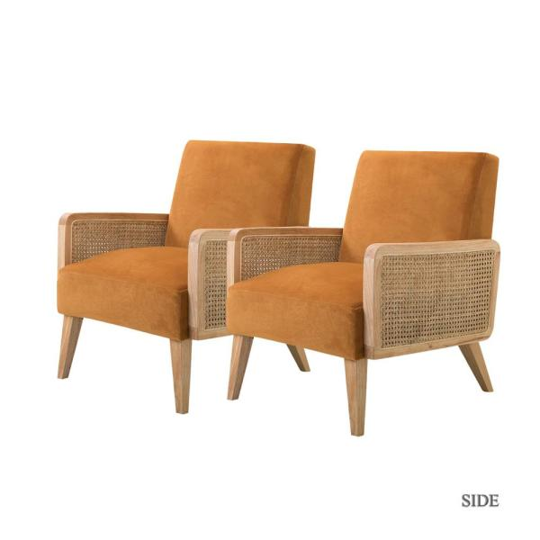Delphine Yellow Cane Accent Chair set of 2