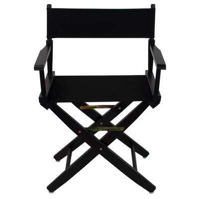 18 in. Extra-Wide Black Wood Frame/Black Canvas Seat Folding Directors Chair