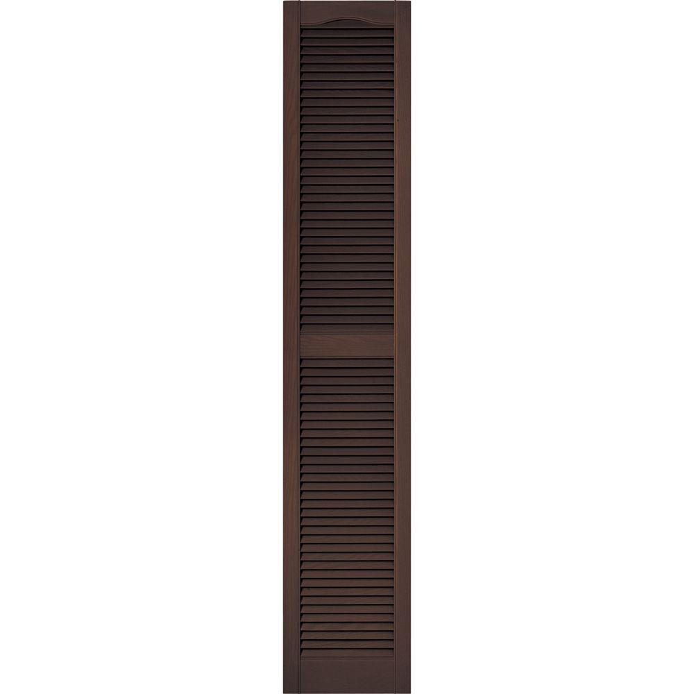 15 in. x 80 in. Louvered Vinyl Exterior Shutters Pair #009