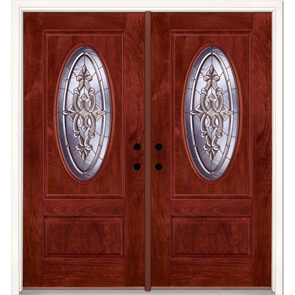 74 in.x81.625 in. Silverdale Zinc 3/4 Oval Lite Stained Cherry Mahogany