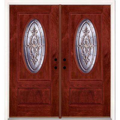 74 in.x81.625 in. Silverdale Zinc 3/4 Oval Lite Stained Cherry Mahogany Right-Hand Fiberglass Double Prehung Front Door